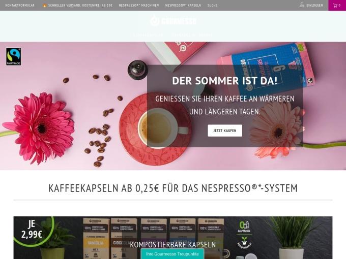 Screenshot des Onlineshops von Gourmesso