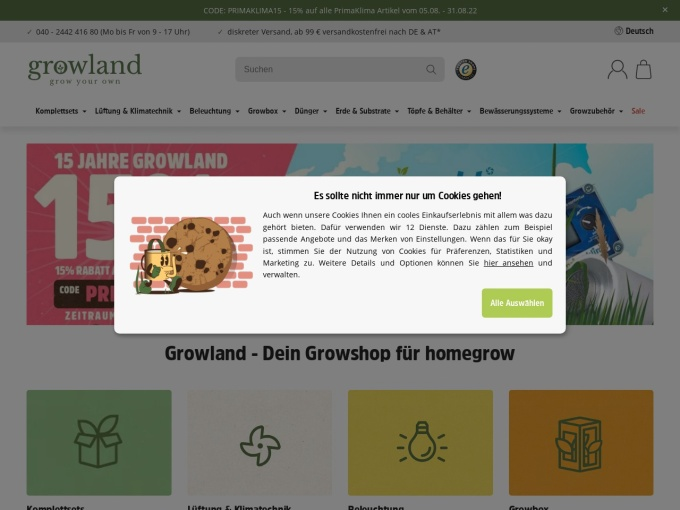 Screenshot des Onlineshops von Growland
