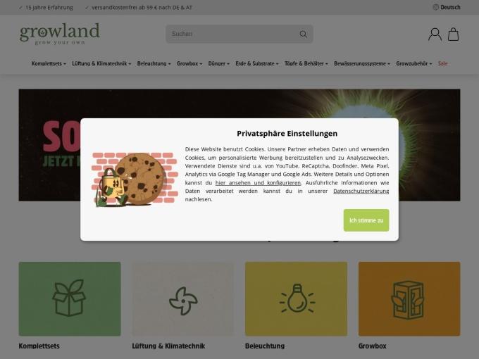 Screenshot des Onlineshops von Growland