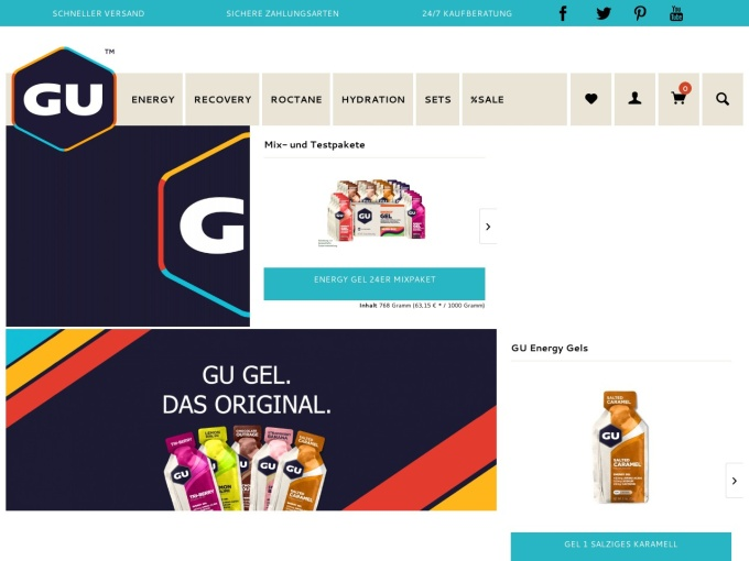 Screenshot des Onlineshops von GU Germany