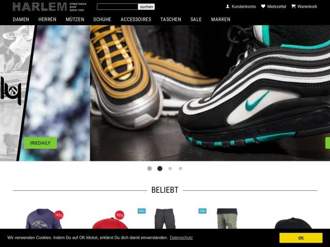 Screenshot des Onlineshops von HARLEM