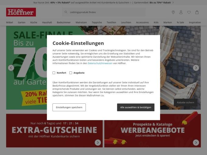 Screenshot des Onlineshops von Möbel Höffner