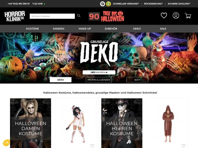 Screenshot des Onlineshops von Horrorklinik