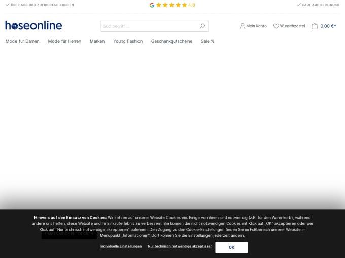 Screenshot des Onlineshops von HoseOnline
