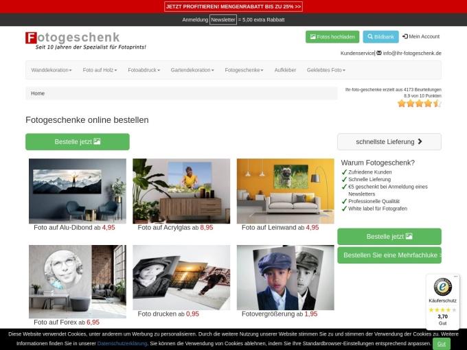 Screenshot des Onlineshops von ihr-fotogeschenk.de