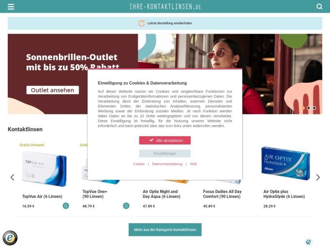 Screenshot des Onlineshops von Ihre Kontaktlinsen