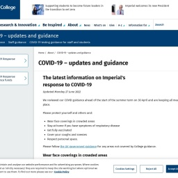 COVID-19 – updates and guidance | About | Imperial College London