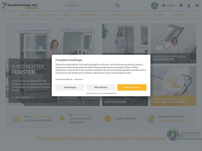 Screenshot des Onlineshops von insektenstop.net