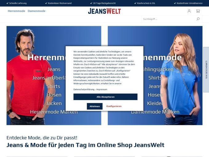 Screenshot des Onlineshops von JeansWelt