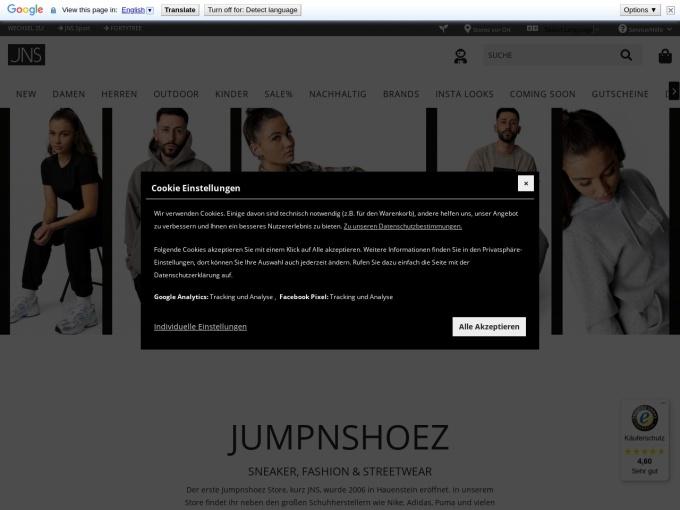 Screenshot des Onlineshops von JNS - Jumpnshoez