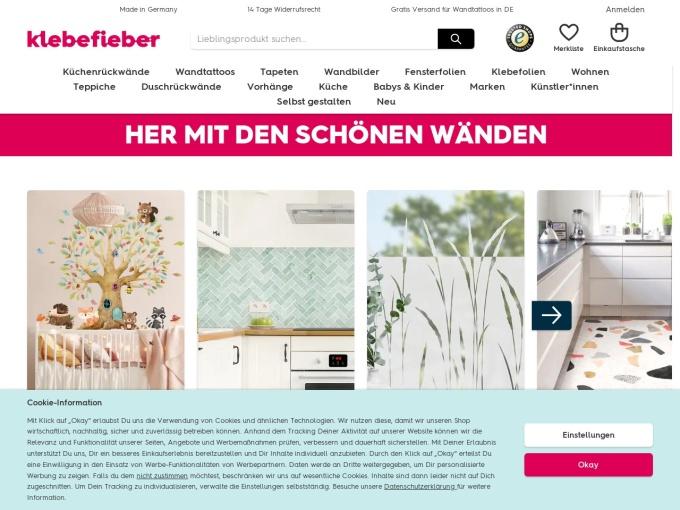 Screenshot des Onlineshops von Klebefieber