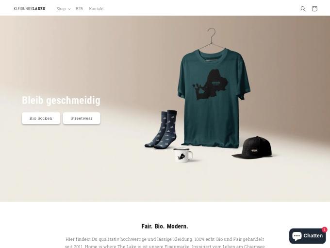 Screenshot des Onlineshops von Kleidungsladen