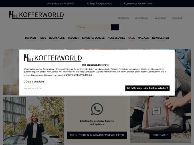 Screenshot des Onlineshops von Kofferworld