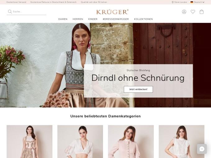 Screenshot des Onlineshops von Krüger Dirndl