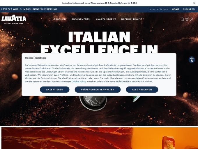 Screenshot des Onlineshops von Lavazza