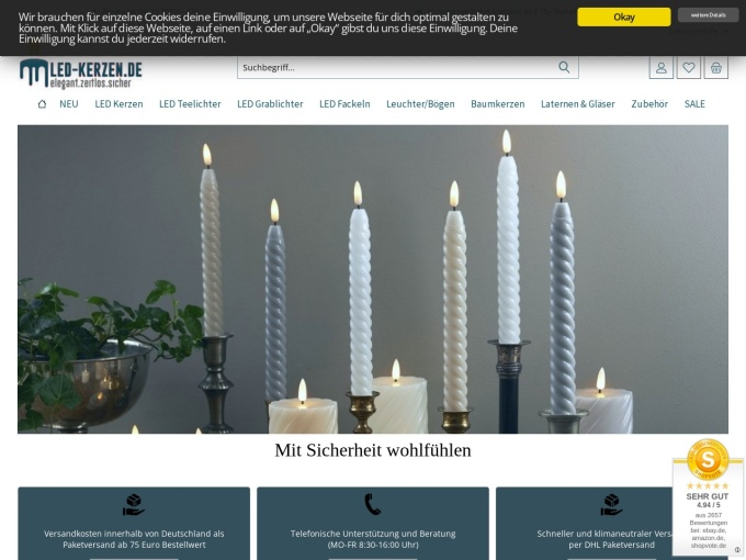 Screenshot des Onlineshops von LED-kerzen.de
