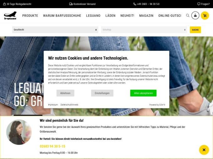 Screenshot des Onlineshops von leguano