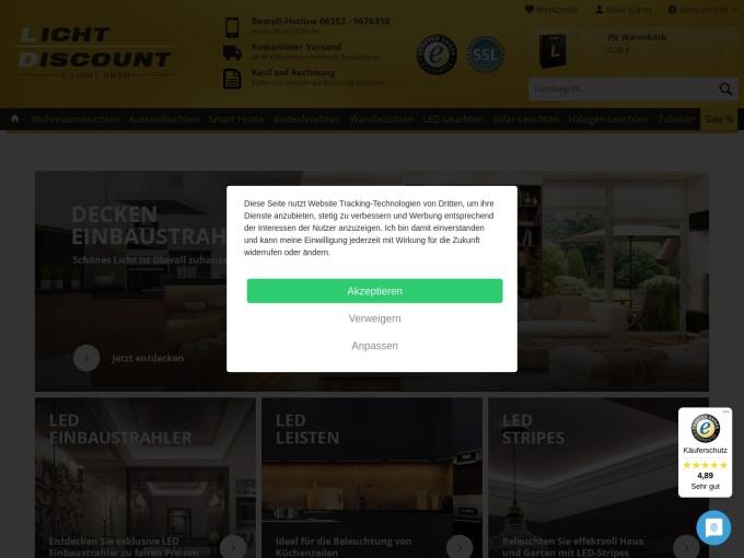 Screenshot des Onlineshops von Lichtdiscount