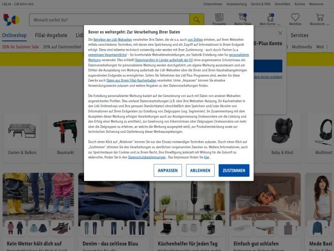 Screenshot des Onlineshops von LIDL