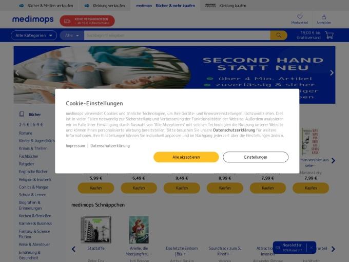 Screenshot des Onlineshops von Medimops