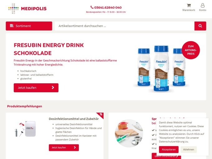 Screenshot des Onlineshops von MEDIPOLIS