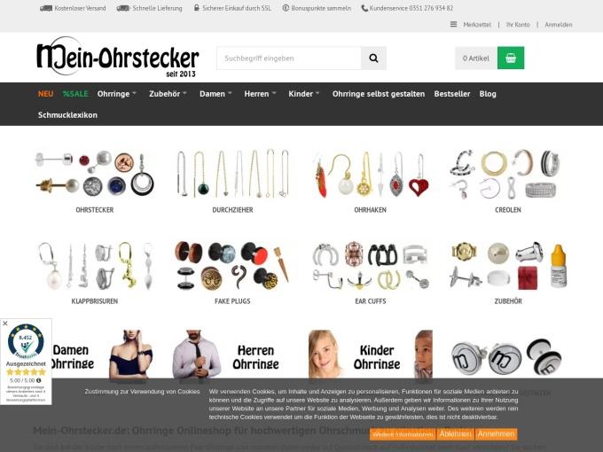 Screenshot des Onlineshops von Mein-Ohrstecker