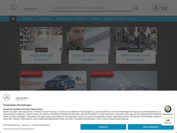 Screenshot des Onlineshops von Mercedes Originalteile