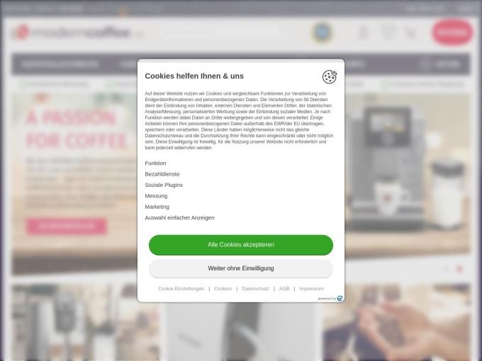 Screenshot des Onlineshops von moderncoffee