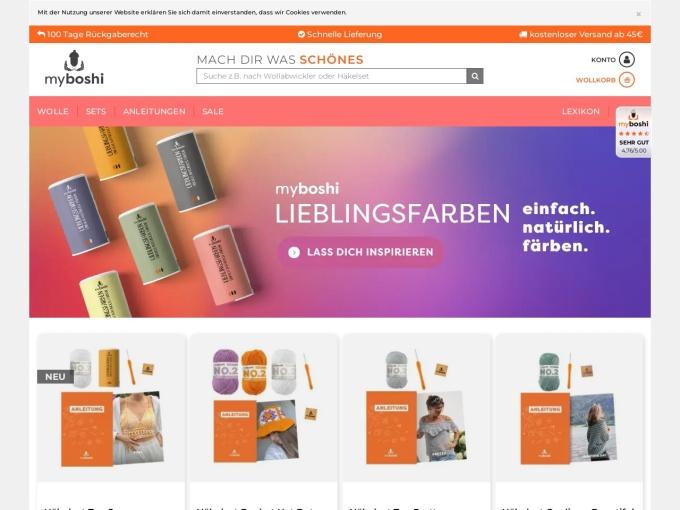 Screenshot des Onlineshops von myboshi