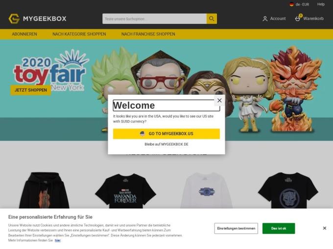 Screenshot des Onlineshops von MyGeekBox