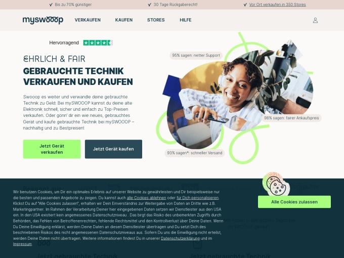 Screenshot des Onlineshops von mySWOOOP