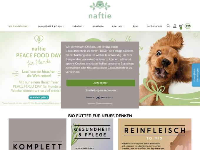 Screenshot des Onlineshops von naftie