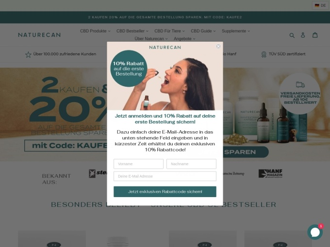 Screenshot des Onlineshops von Naturecan