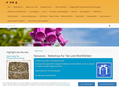 Neoaveo - Webshop für Tee, Wellness und Wohlfühlen Thumb