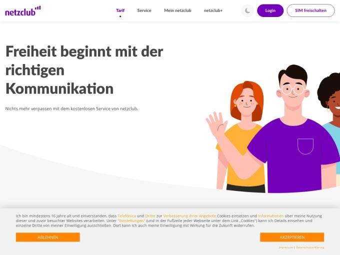 Screenshot des Onlineshops von netzclub