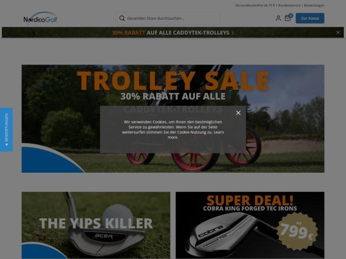 Screenshot des Onlineshops von NordicaGolf