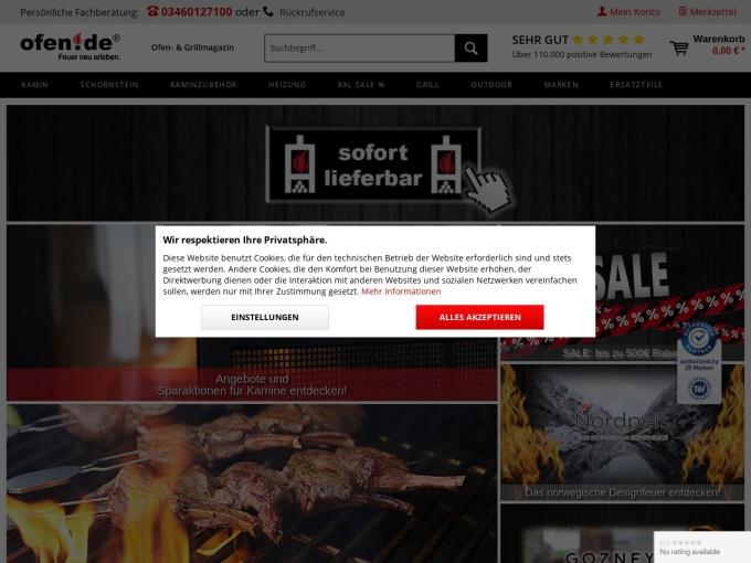 Screenshot des Onlineshops von Ofen.de