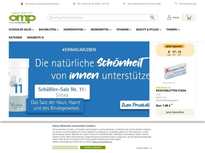 Screenshot des Onlineshops von omp Apotheke