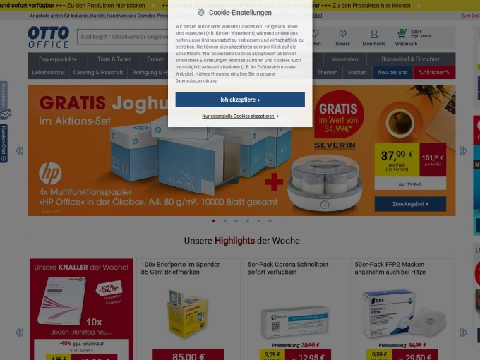 Screenshot des Onlineshops von OTTO Office