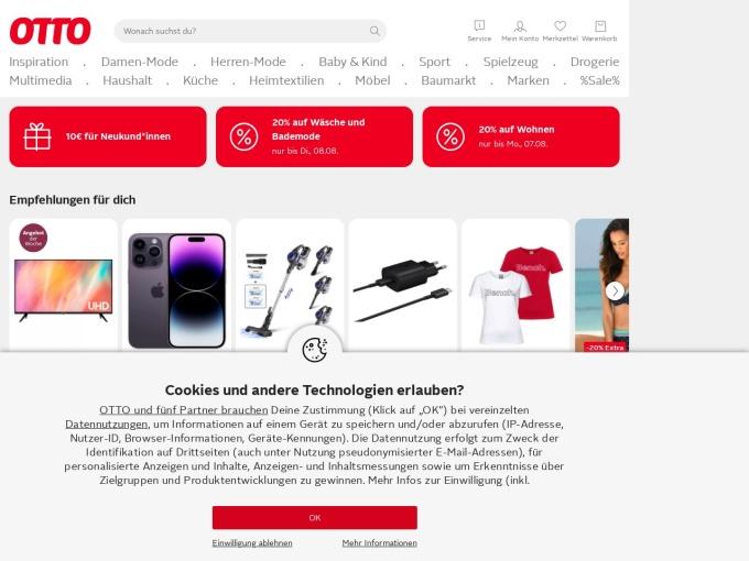 Screenshot des Onlineshops von OTTO