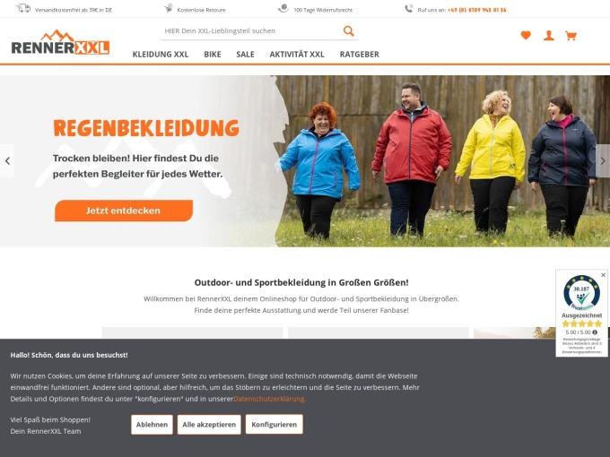 Screenshot des Onlineshops von Outdoor Renner