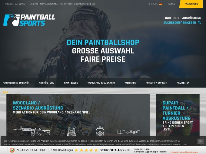 Screenshot des Onlineshops von Paintball Sports