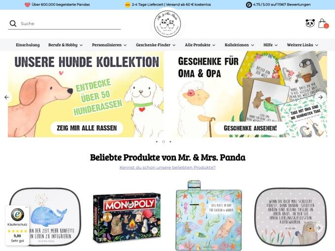 Screenshot des Onlineshops von Mr. & Mrs. Panda