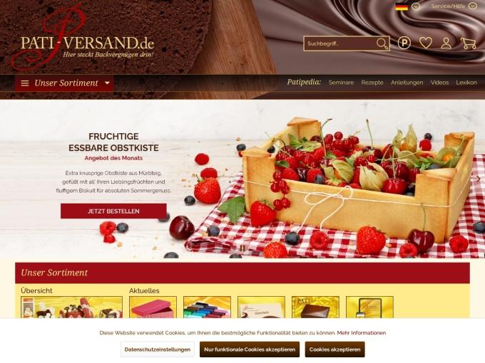 Screenshot des Onlineshops von Pati-Versand