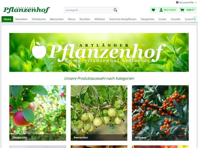 Screenshot des Onlineshops von Pflanzenhof