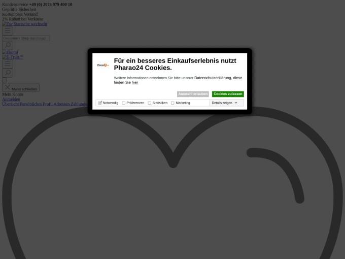 Screenshot des Onlineshops von Pharao24