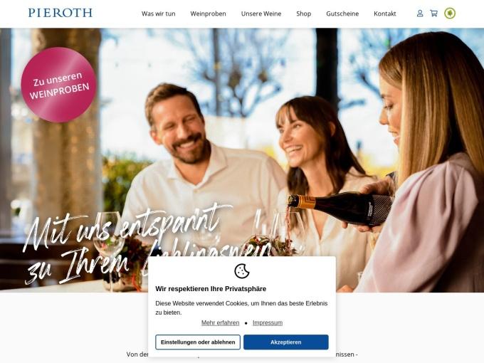 Screenshot des Onlineshops von Pieroth