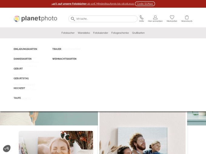 Screenshot des Onlineshops von Planet Photo