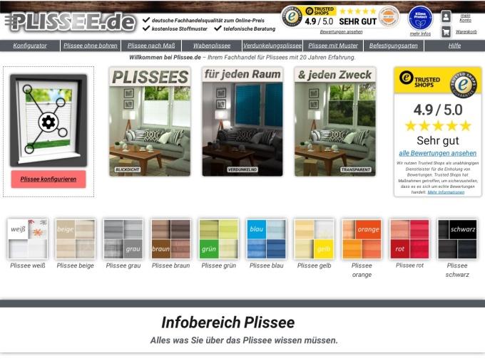 Screenshot des Onlineshops von Plissee.de