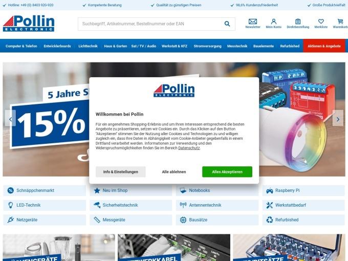 Screenshot des Onlineshops von Pollin Electronic